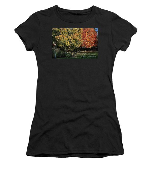 Backyard Morning In The Fall Women's T-Shirt (Athletic Fit)