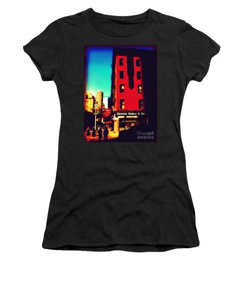 Women's T-Shirt (Junior Cut) featuring the photograph The Bakery - New York City Street Scene by Miriam Danar