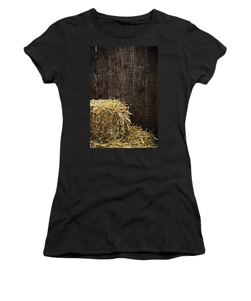 Bale Of Straw And Wooden Background Women's T-Shirt
