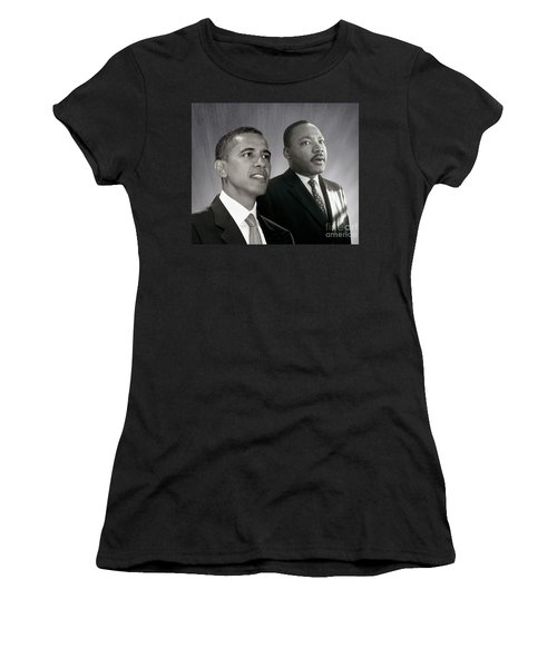 Women's T-Shirt (Junior Cut) featuring the photograph Barack Obama  M L King  by Martin Konopacki Restoration
