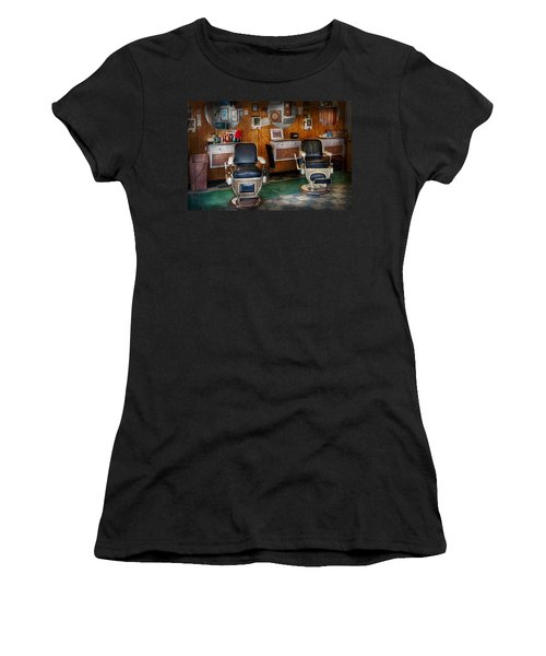 Barber - Frenchtown Nj - Two Old Barber Chairs  Women's T-Shirt