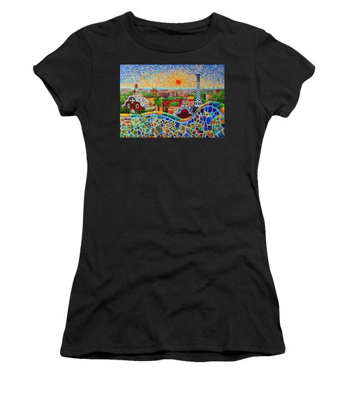 Barcelona View At Sunrise - Park Guell  Of Gaudi Women's T-Shirt (Athletic Fit)