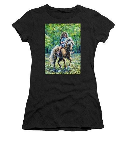 Barefoot Rider Women's T-Shirt (Junior Cut) by Gail Butler