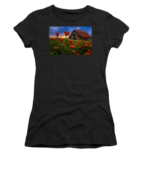 Barn In Poppies Women's T-Shirt