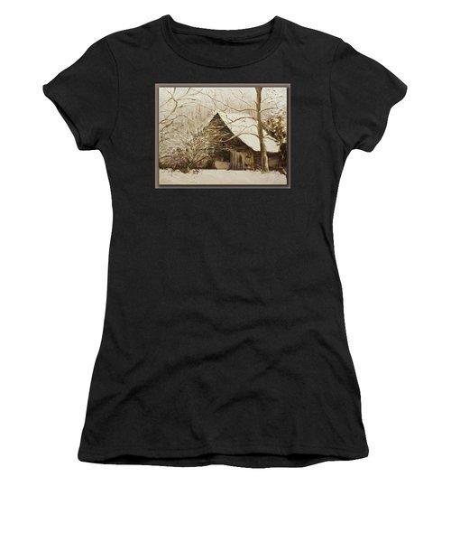 Barn In Snow Women's T-Shirt