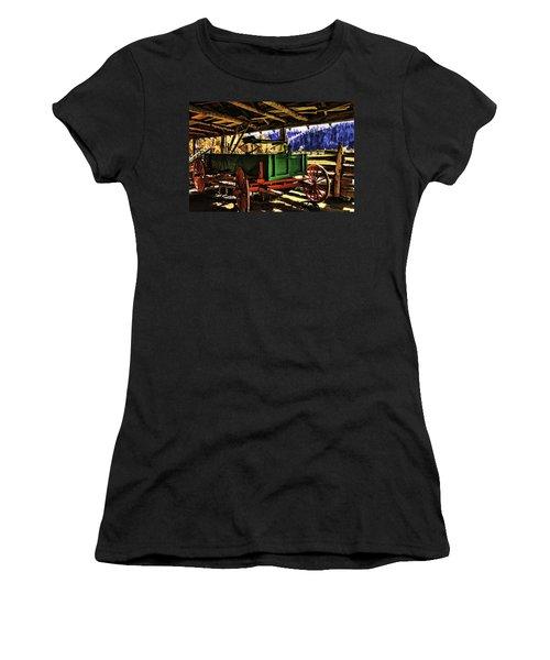 Women's T-Shirt (Junior Cut) featuring the painting Barn by Muhie Kanawati