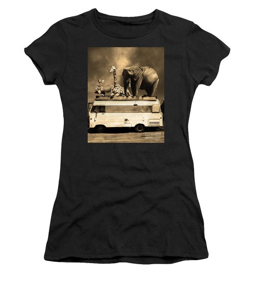 Barnum And Bailey Goes On A Road Trip 5d22705 Vertical Sepia Women's T-Shirt