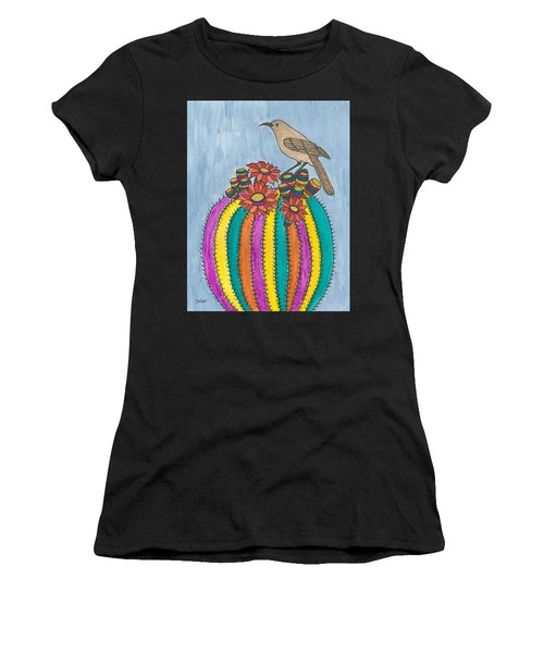 Women's T-Shirt (Junior Cut) featuring the painting Barrel Of Cactus Fun by Susie Weber