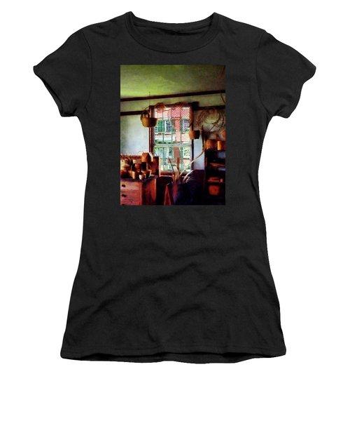 Women's T-Shirt (Junior Cut) featuring the photograph Basket Shop by Susan Savad