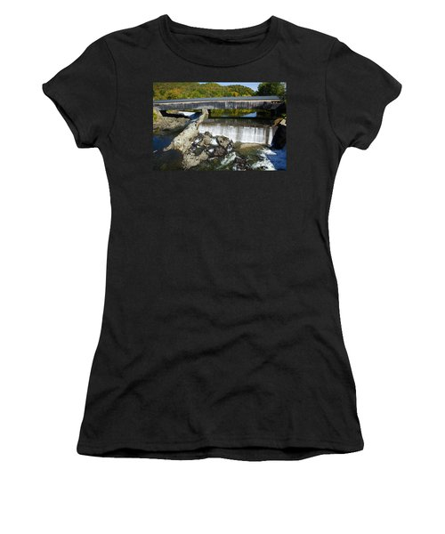 Bath Haverhill Covered Bridge In Autumn Women's T-Shirt (Athletic Fit)