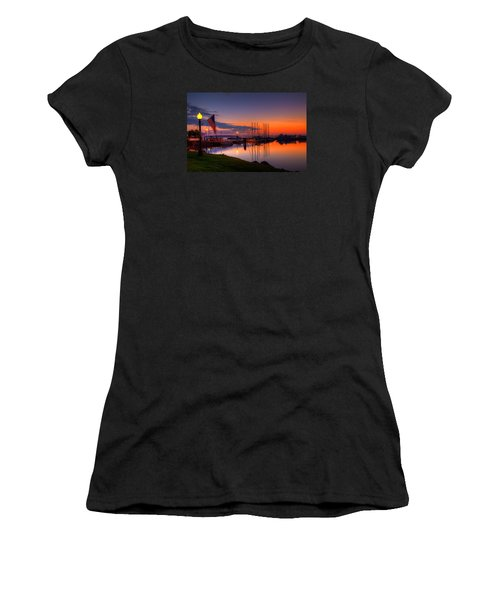 Bayfield Wisconsin Fire In The Sky Over The Harbor Women's T-Shirt