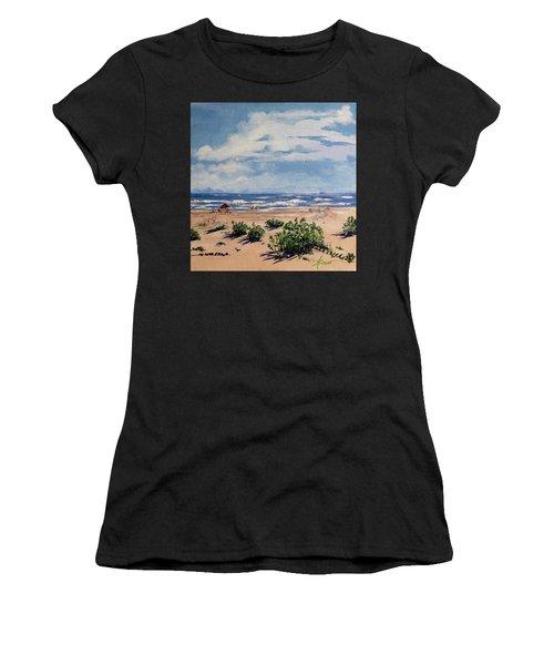 Beach Scene On Galveston Island Women's T-Shirt