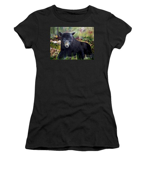 Women's T-Shirt (Junior Cut) featuring the painting Bear Painting - Blackberry Patch - Wildlife by Jan Dappen