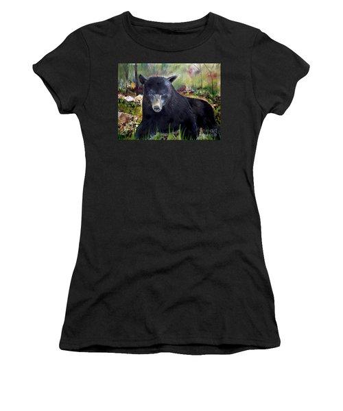 Bear Painting - Blackberry Patch - Wildlife Women's T-Shirt (Junior Cut) by Jan Dappen