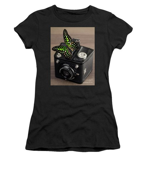 Beautiful Butterfly On A Kodak Brownie Camera Women's T-Shirt