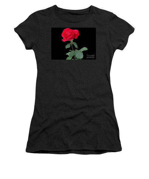 Beautiful Red Rose Women's T-Shirt (Junior Cut) by Janette Boyd
