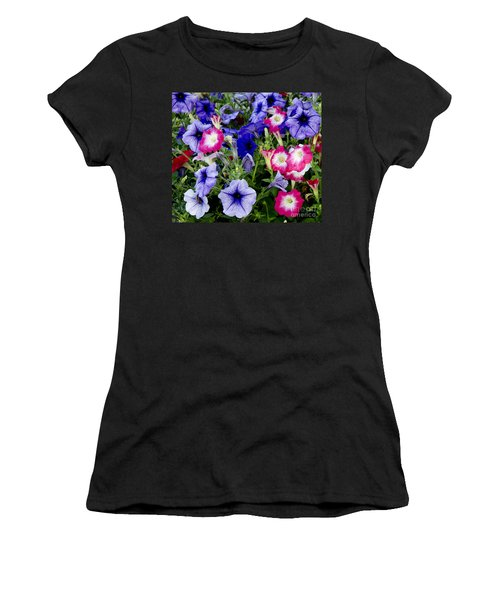 Women's T-Shirt (Junior Cut) featuring the photograph Beautiful Summer Annuals by Wilma  Birdwell