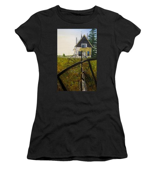 Women's T-Shirt (Junior Cut) featuring the painting Behind The Old Church by Marilyn  McNish