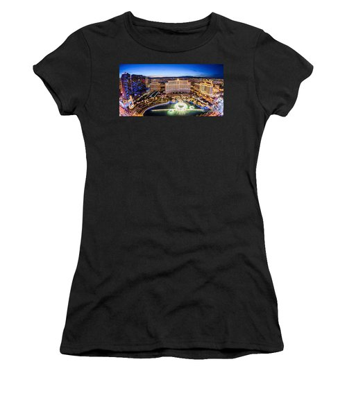 Women's T-Shirt (Junior Cut) featuring the photograph Bellagio Rountains From Eiffel Tower At Dusk by Aloha Art