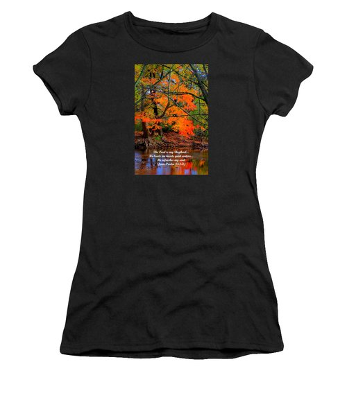 Beside Still Waters Psalm 23.1-3 - From Fire In The Creek B1 - Owens Creek Frederick County Md Women's T-Shirt (Athletic Fit)