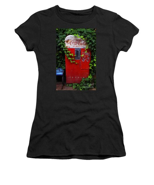 Austin Texas - Coca Cola Vending Machine - Luther Fine Art Women's T-Shirt (Athletic Fit)