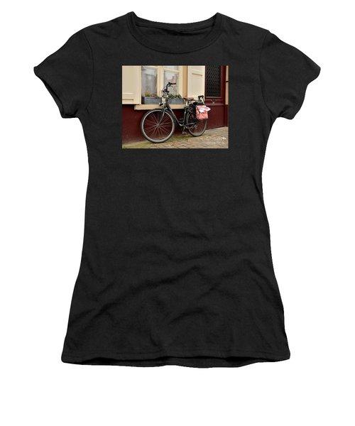 Bicycle With Baby Seat At Doorway Bruges Belgium Women's T-Shirt