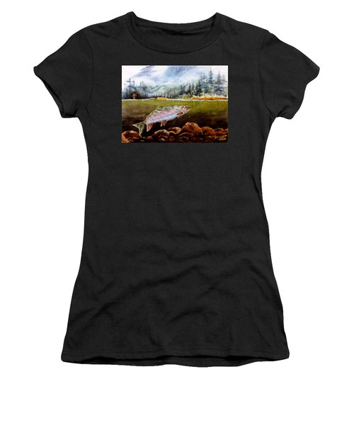 Women's T-Shirt (Junior Cut) featuring the painting Big Thompson Trout by Craig T Burgwardt