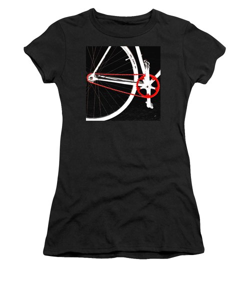 Bike In Black White And Red No 2 Women's T-Shirt (Junior Cut) by Ben and Raisa Gertsberg