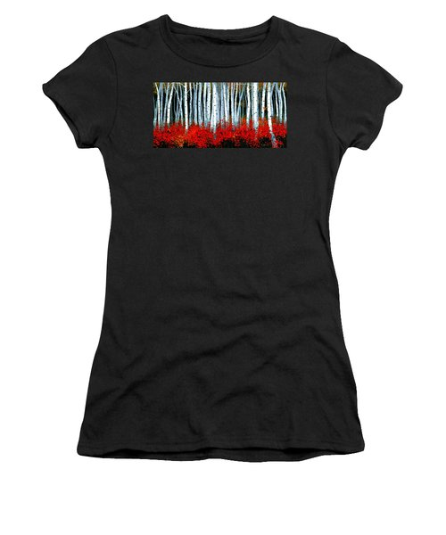 Women's T-Shirt (Junior Cut) featuring the painting Birch 24 X 48  by Michael Swanson