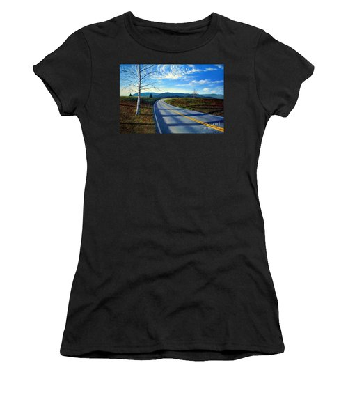 Birch Tree Along The Road Women's T-Shirt (Athletic Fit)