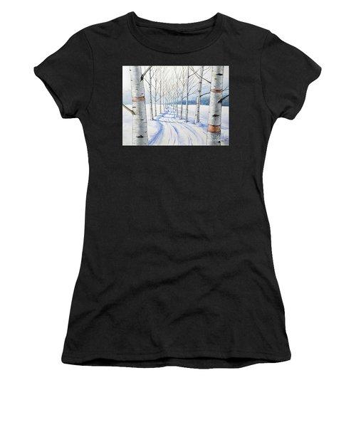 Birch Trees Along The Curvy Road Women's T-Shirt