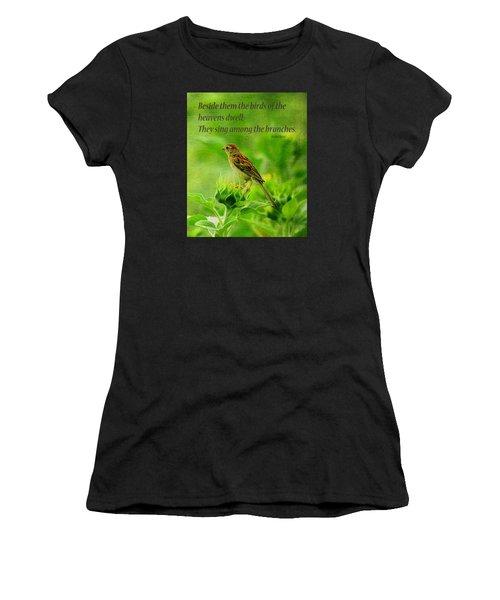 Bird In A Sunflower Field Scripture Women's T-Shirt (Athletic Fit)