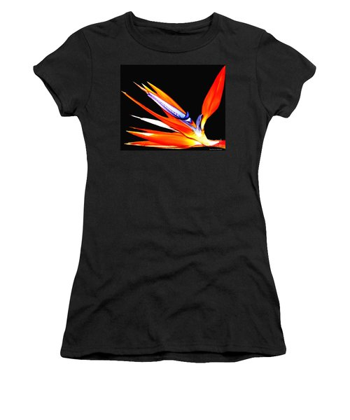Women's T-Shirt (Junior Cut) featuring the photograph Bird Of Paradise Flower With Oil Painting Effect by Rose Santuci-Sofranko