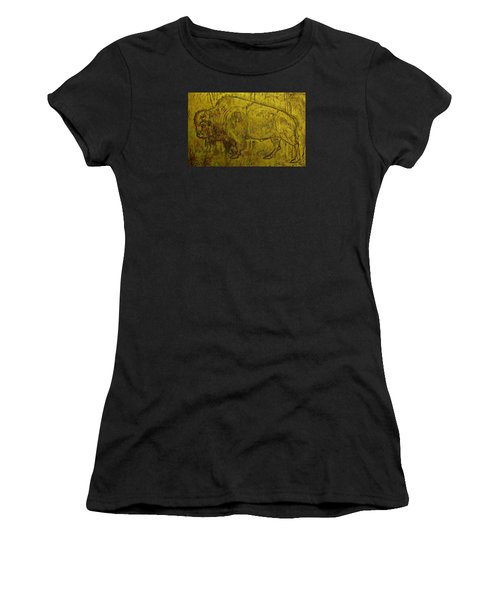 Women's T-Shirt (Junior Cut) featuring the drawing Golden  Buffalo by Larry Campbell