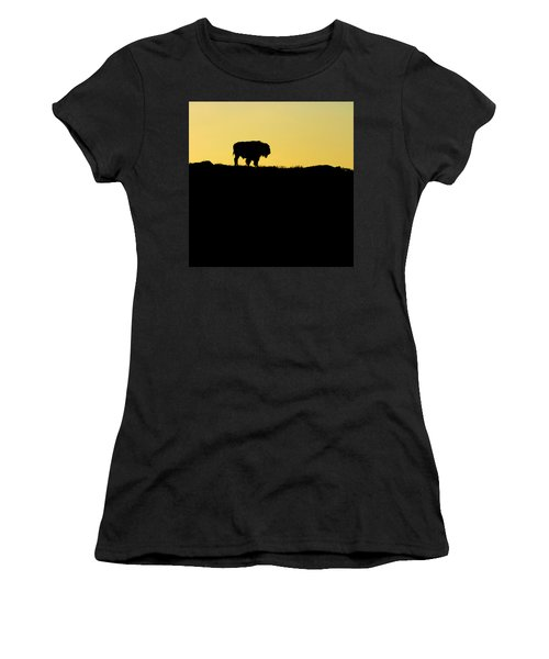 Women's T-Shirt (Junior Cut) featuring the photograph Bison Sunrise by Sonya Lang