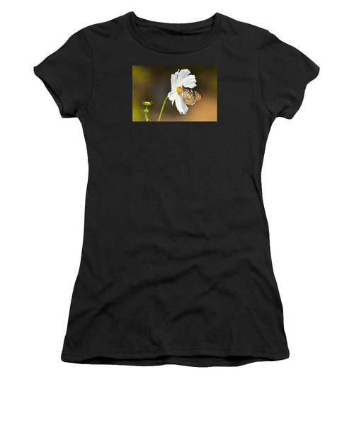 Black And White Women's T-Shirt (Athletic Fit)