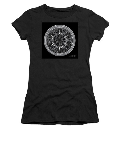 Black And White Gothic Celtic Mermaids Women's T-Shirt (Athletic Fit)