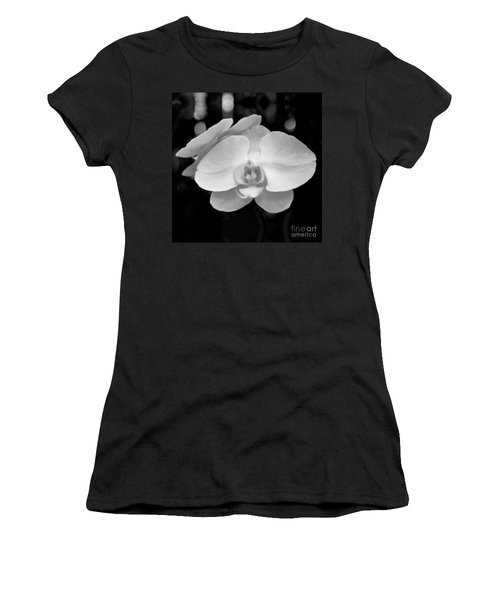 Black And White Orchid With Lights - Square Women's T-Shirt (Athletic Fit)