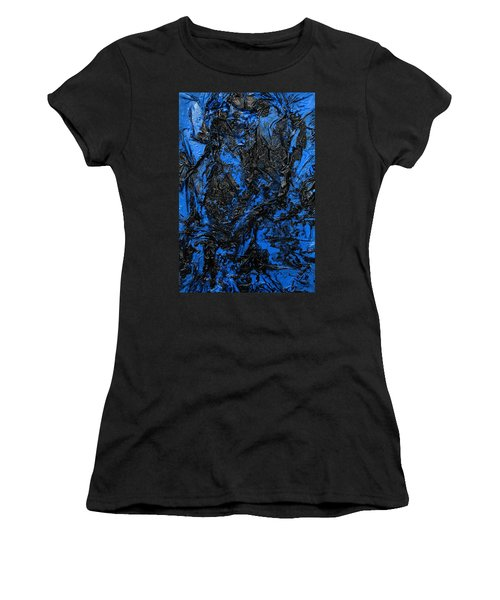 Black Cracks With Blue Women's T-Shirt (Athletic Fit)
