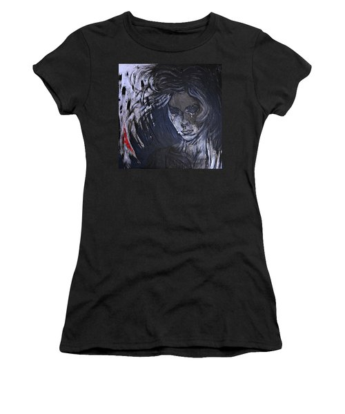 black portrait 16 Juliette Women's T-Shirt (Junior Cut) by Sandro Ramani