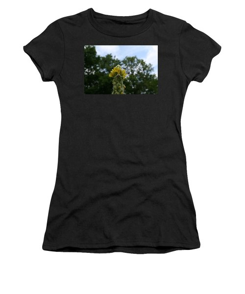 Women's T-Shirt (Junior Cut) featuring the photograph Blended Golden Rod Crab Spider On Mullein Flower by Neal Eslinger