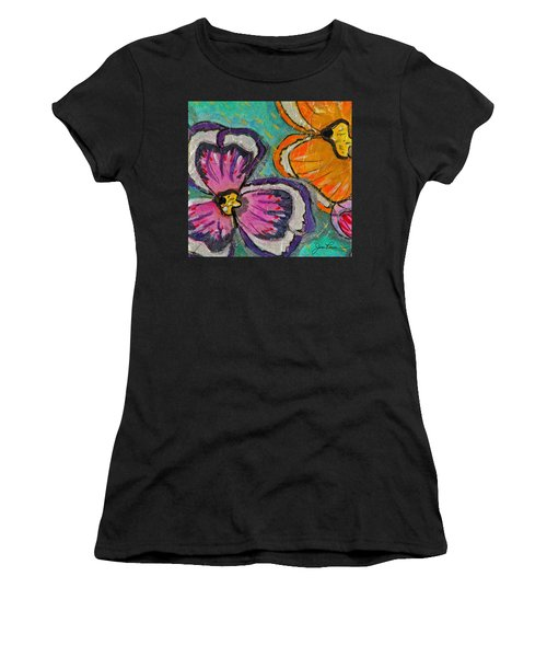 Women's T-Shirt (Junior Cut) featuring the painting Blooming Flowers by Joan Reese
