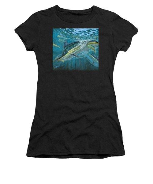 Blue And Mahi Mahi Underwater Women's T-Shirt (Athletic Fit)