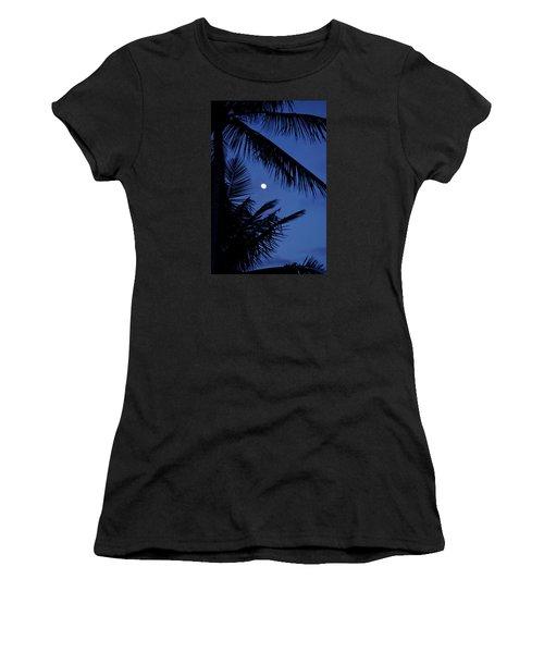 Women's T-Shirt (Junior Cut) featuring the photograph Blue Dawn Moon by Lehua Pekelo-Stearns
