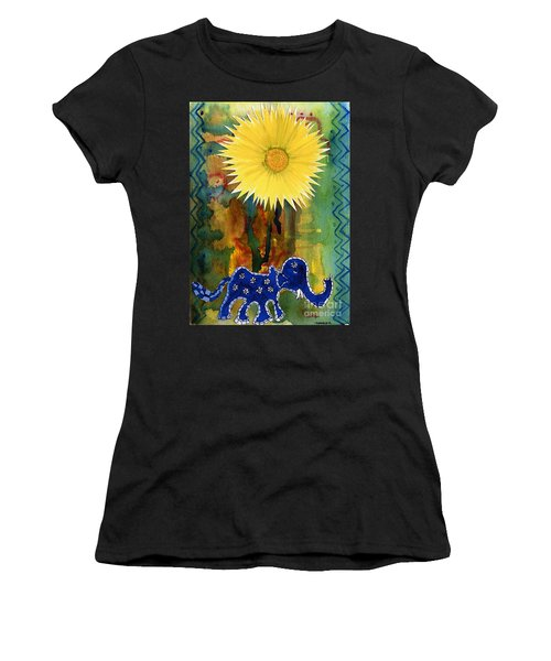 Blue Elephant In The Rainforest Women's T-Shirt (Athletic Fit)