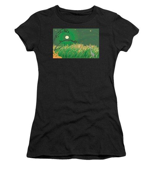 Blue Heron Grasses Women's T-Shirt (Athletic Fit)