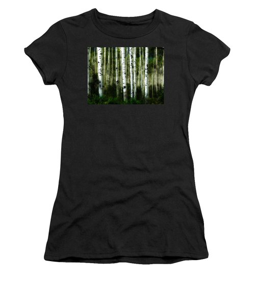 Women's T-Shirt (Junior Cut) featuring the photograph Blue Mood Aspens I by Lanita Williams