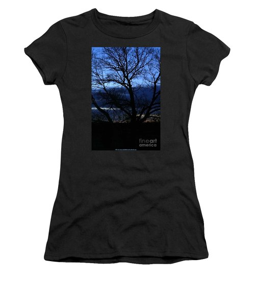 Women's T-Shirt (Junior Cut) featuring the photograph Blue Moon Sunrise by PainterArtist FIN