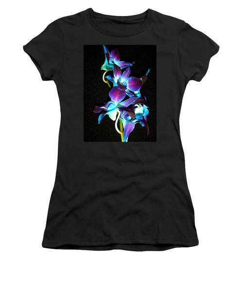 Blue Orchids Women's T-Shirt (Junior Cut) by Stephanie Moore