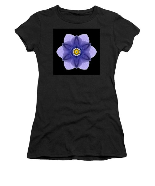 Blue Pansy I Flower Mandala Women's T-Shirt (Athletic Fit)